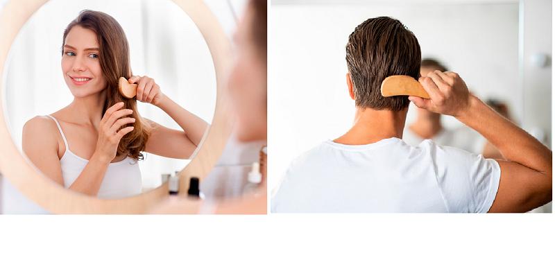 mujer cepillando cabello, hombre cepillando cabello, consejos cepillar el cabello